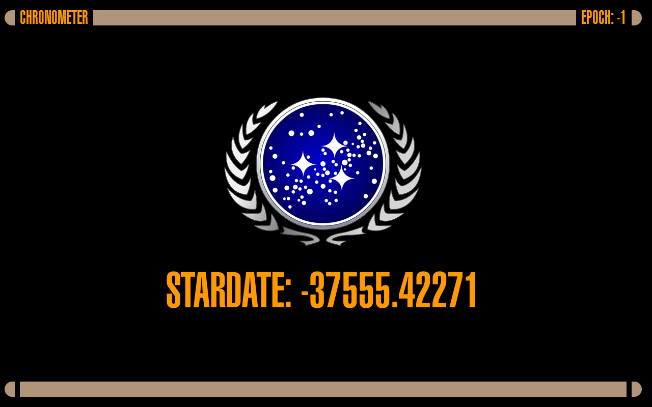 Stardate Time clock in fullscreen LCARS theme